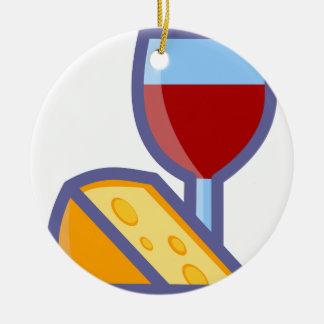 Ornement Rond En Céramique Vin et fromage