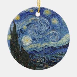 Ornement Rond En Céramique Vincent van Gogh | la nuit étoilée, juin 1889