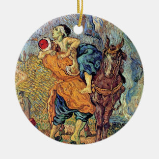 Ornement Rond En Céramique Vincent van Gogh - le bon Samaritain - beaux-arts