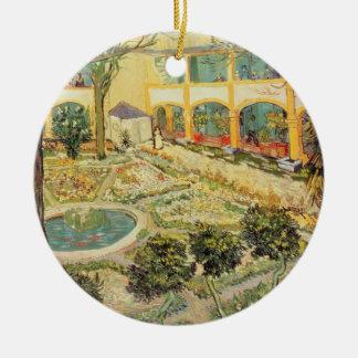 Ornement Rond En Céramique Vincent van Gogh | le jardin d'asile chez Arles