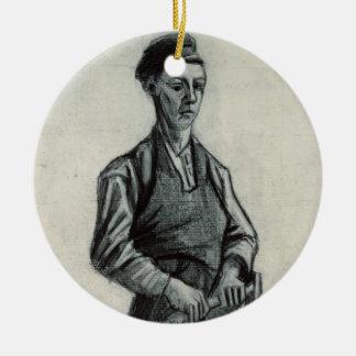 Ornement Rond En Céramique Vincent van Gogh | le jeune forgeron, 1882