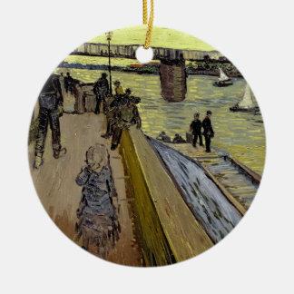 Ornement Rond En Céramique Vincent van Gogh | Le Pont de Trinquetaille Arles