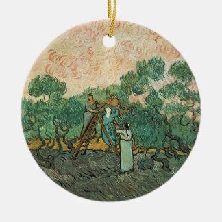 Ornement Rond En Céramique Vincent van Gogh | les récolteuses olives,
