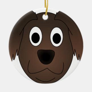 Ornement Rond En Céramique Visage canin de chien de Brown