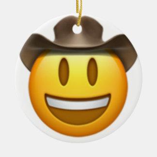 Ornement Rond En Céramique Visage d'emoji de cowboy