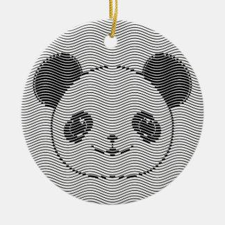 Ornement Rond En Céramique Visage d'ours panda sur le motif de vague