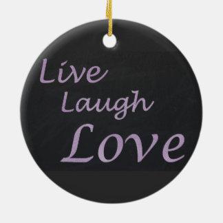 Ornement Rond En Céramique Vivent l'amour de rire