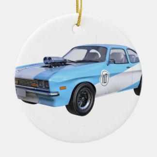 Ornement Rond En Céramique voiture de muscle des années 70 dans bleu et blanc