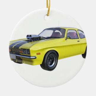 Ornement Rond En Céramique voiture de muscle des années 70 en jaune et noir