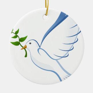 Ornement Rond En Céramique Vol de colombe de blanc