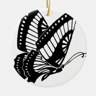 Ornement Rond En Céramique Vol de papillon dans le vent