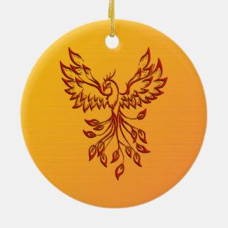 Ornement Rond En Céramique Vol de Phoenix