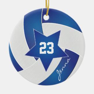 Ornement Rond En Céramique Volleyball blanc et bleu d'All Star