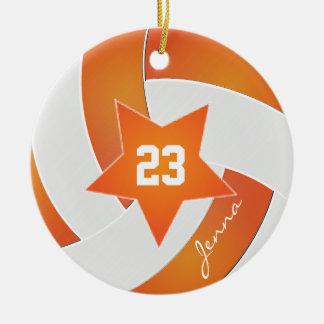 Ornement Rond En Céramique Volleyball blanc et orange d'All Star