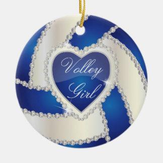 Ornement Rond En Céramique Volleyball bleu-foncé de coeur élégant de diamant