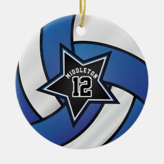 Ornement Rond En Céramique Volleyball d'étoile de bleu et de noir