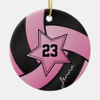 Ornement Rond En Céramique Volleyball d'étoile de rose et de noir