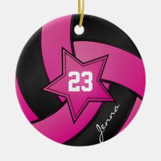 Ornement Rond En Céramique Volleyball d'étoile de roses indien et de noir