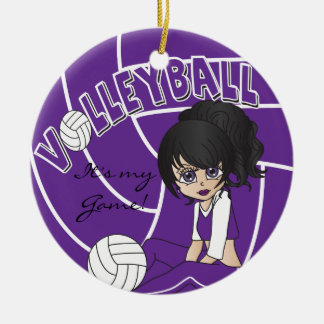 Ornement Rond En Céramique Volleyball Girly pourpre