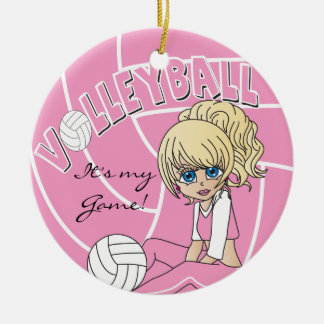 Ornement Rond En Céramique Volleyball Girly rose