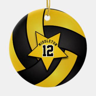 Ornement Rond En Céramique Volleyball jaune et noir d'étoile