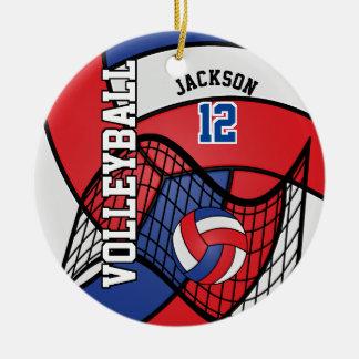 Ornement Rond En Céramique Volleyball rouge, blanc et bleu