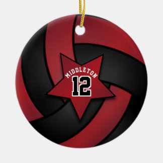 Ornement Rond En Céramique Volleyball rouge foncé et noir d'étoile