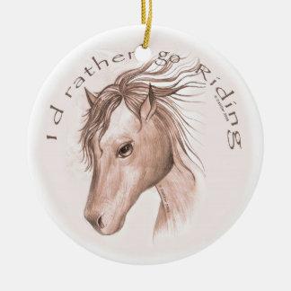 Ornement Rond En Céramique Vont le cheval d'équitation