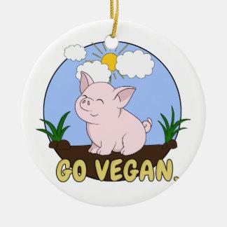 Ornement Rond En Céramique Vont le végétalien - porc mignon