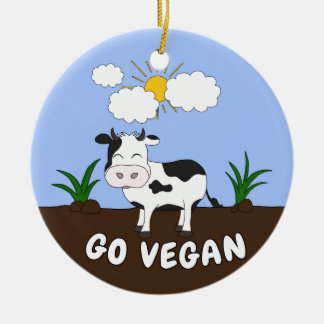 Ornement Rond En Céramique Vont le végétalien - vache mignonne