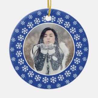 Ornement Rond En Céramique VOS 2 PHOTOS en flocon de neige vue l'ornement