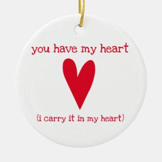 Ornement Rond En Céramique Vous avez mon poème du coeur | par E.E. Cummings