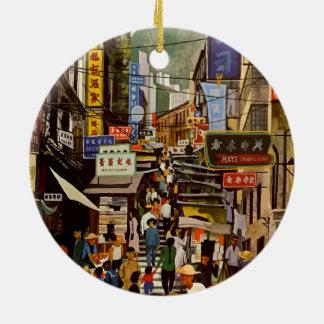 Ornement Rond En Céramique Voyage vintage de Hong Kong Chine de ligne