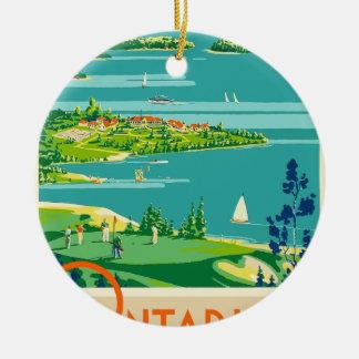 Ornement Rond En Céramique Voyage vintage Ontario Canada