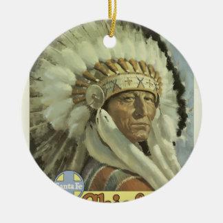 Ornement Rond En Céramique Voyage vintage Santa Fe Nouveau Mexique Etats-Unis