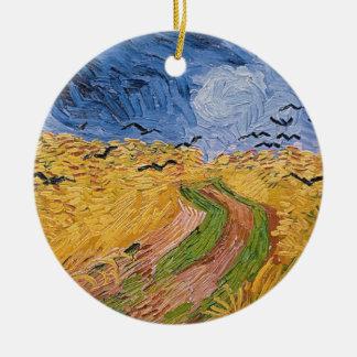 Ornement Rond En Céramique Wheatfield de Vincent van Gogh | avec des