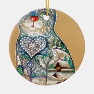 Ornement Rond En Céramique winter cat