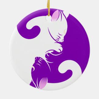 Ornement Rond En Céramique Yang de yin de chats