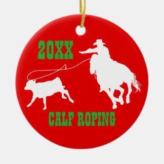 Ornement Roping de Noël de veau de cowboy de rodéo