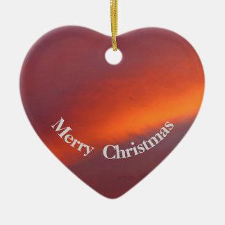 Ornement rose de coeur de Noël de nuage