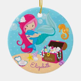 Ornement rose mignon de Noël de sirène et de