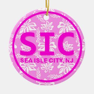Ornement rose personnalisé de la ville NJ d'île de