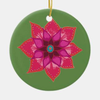 Ornement rouge de cercle d'art de fleur de mandala