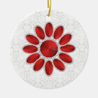 Ornement rouge de cercle de fleur de Noël de