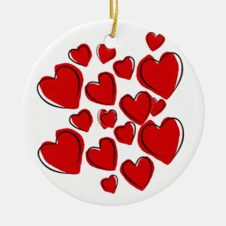 Ornement rouge de coeur avec amour