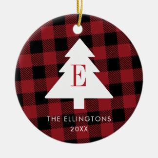 Ornement rouge de Noël de monogramme de plaid avec