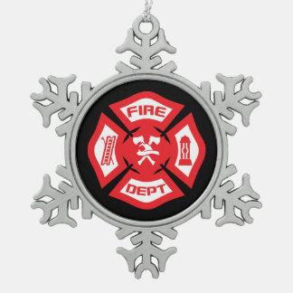 Ornement rouge de Noël de sapeur-pompier
