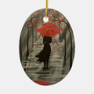 Ornement rouge de parapluie de pluie d'automne