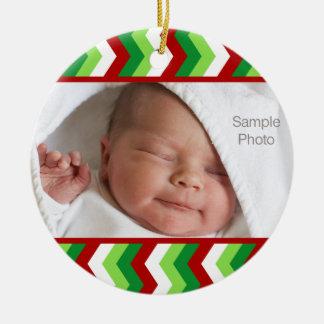 Ornement rouge et vert de photo de Noël de zigzag