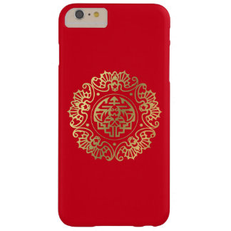 Ornement rouge lumineux d'Asiatique d'or Coque Barely There iPhone 6 Plus